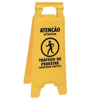 Placa Sinalizadora (Atenção Tráfego de Pedestre)